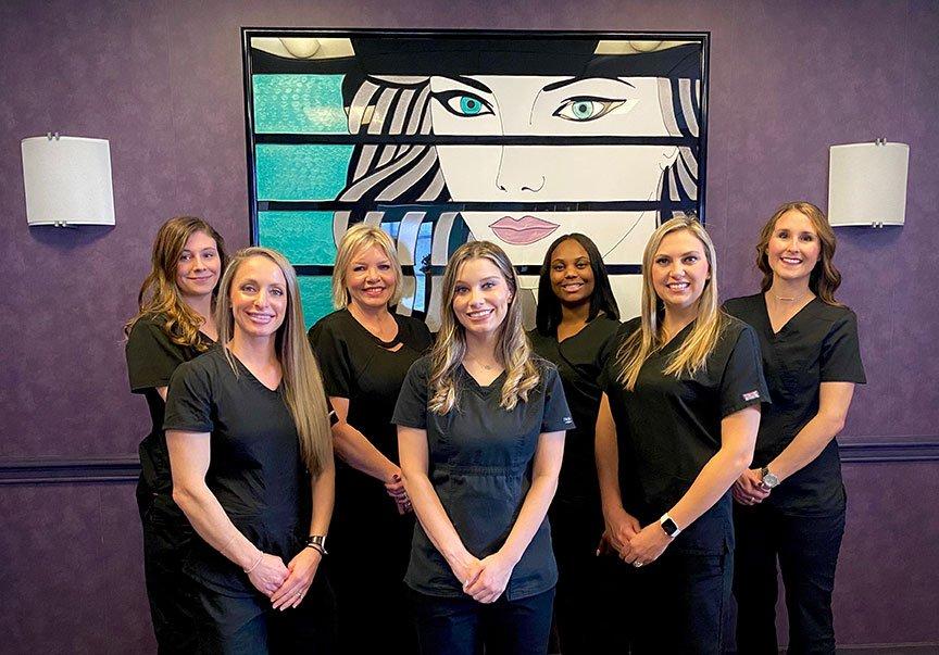 From left to right: Savannah, Ashley, Kimberly, Sarah, Trisha, Kristina, and Jennie at Advanced Dermatology.